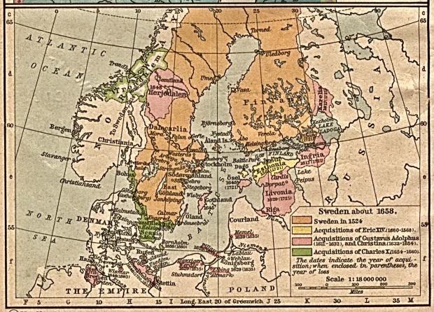 Mapa de Suecia Circa 1658