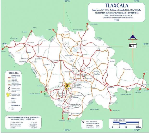 Mapa de Tlaxcala (Estado), Mexico