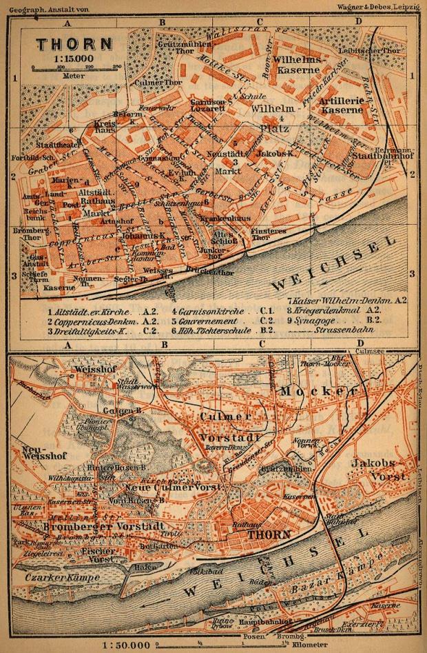 Mapa de Torun (Thorn), Polonia 1910