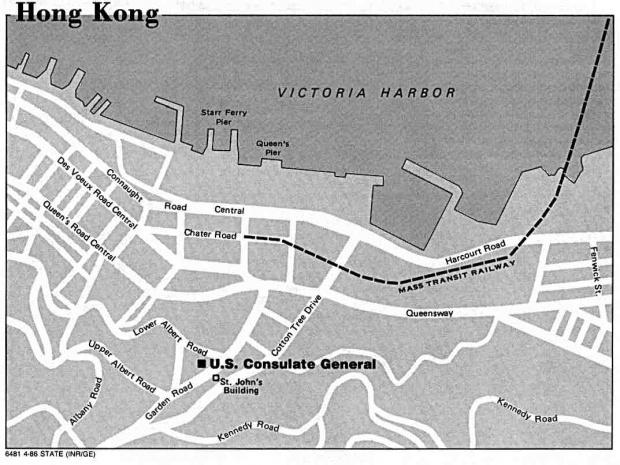 Mapa de Ubicación del Consulado General US en Hong Kong
