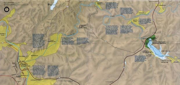 Mapa de Ubicación del Memorial Nacional Johnstown Flood, Pensilvania, Estados Unidos