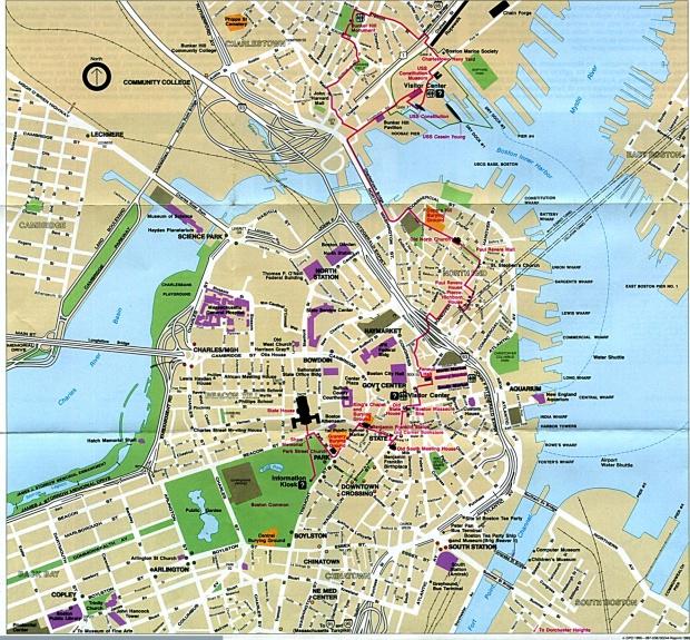 Mapa de Ubicaciónes Históricas en Boston, Massachusetts, Estados Unidos