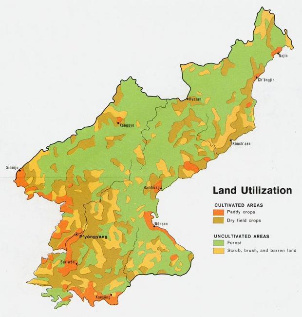 Mapa de Utilización de la Tierra de Corea del Norte
