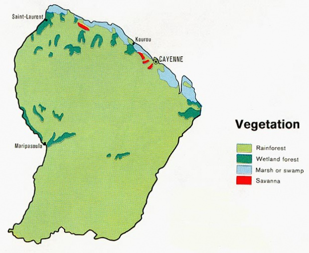 Mapa de Vegetación de Guayana Francesa