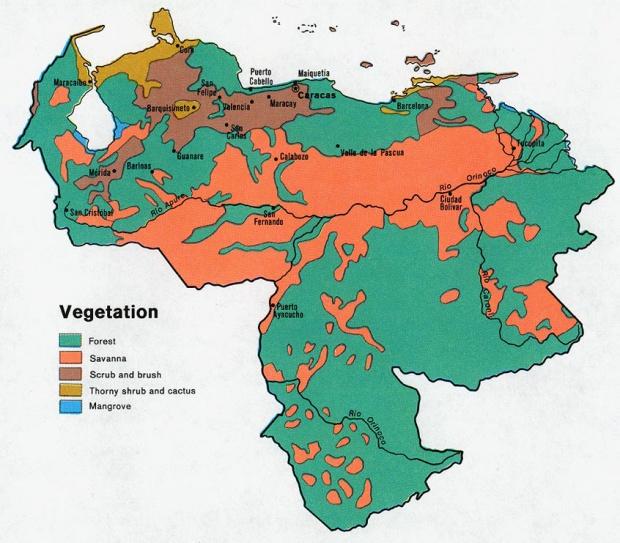 Mapa de Vegetación de Venezuela