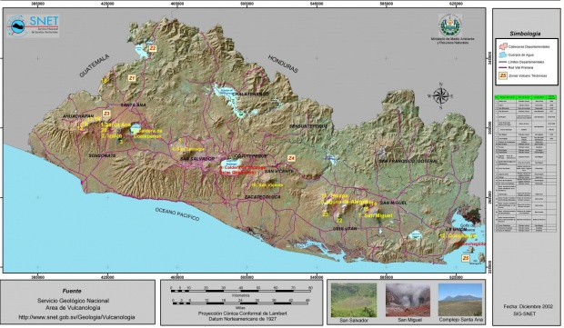 Mapa de Volcanes Activos de El Salvador