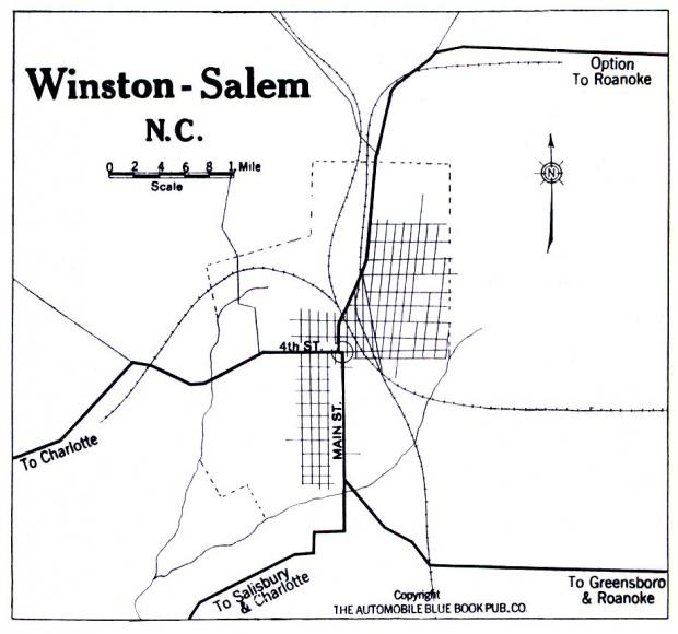 Mapa de Winston-Salem, Carolina del Norte, Estados Unidos 1919