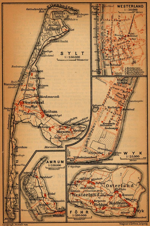 Mapa de Wyk y Westerland, Alemania 1910