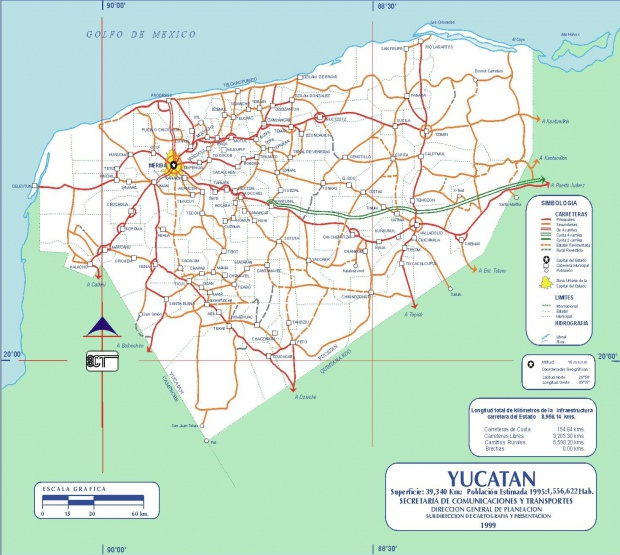 Mapa de Yucatan (Estado), Mexico