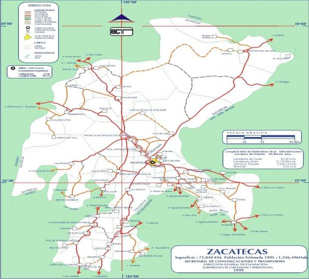 Mapa de Zacatecas (Estado), Mexico