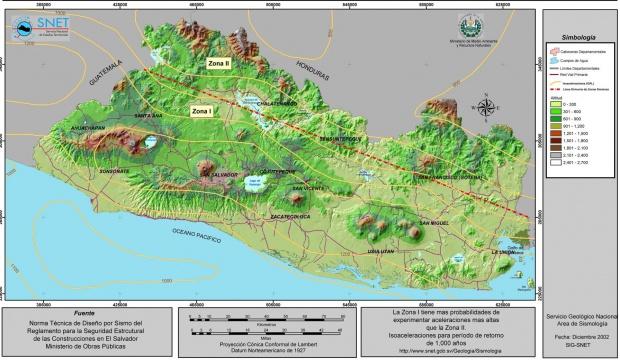 Mapa de Zonificacion Sismica, El Salvador