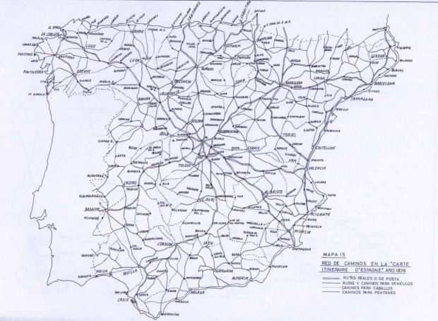 Mapa de carreteras de España 1830