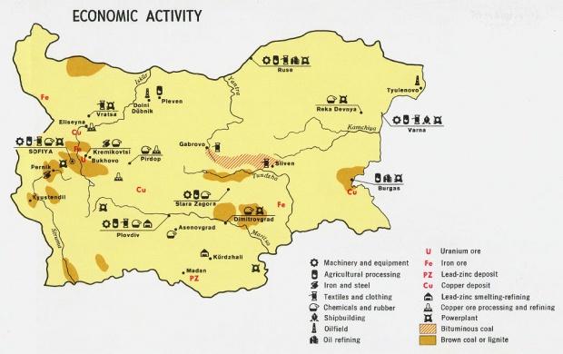 Mapa de la Actividad Económica de Bulgaria
