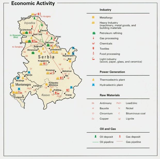 Mapa de la Actividad Económica de Serbia y Montenegro