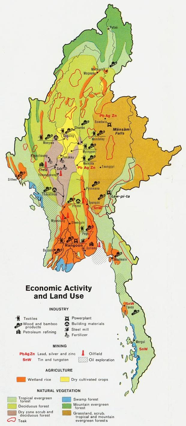 Mapa de la Actividad Económica y del Uso de la Tierra de Birmania (Myanmar)