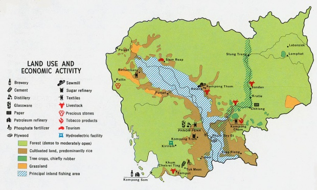 Mapa de la Actividad Económica y del Uso de la Tierra de Camboya
