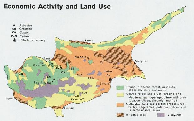 Mapa de la Actividad Económica y del Uso de la Tierra de Chipre