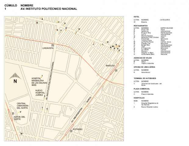 Mapa de la Av. Instituto Politécnico Nacional, Mexico D.F.