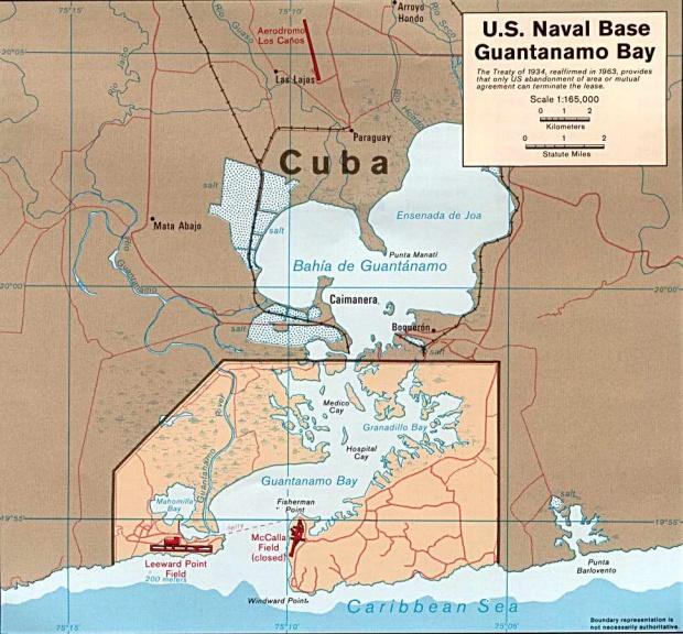 Mapa de la Bahía de Guantánamo, Cuba