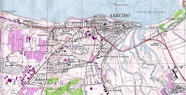 Mapa de la Ciudad de Arecibo, Puerto Rico