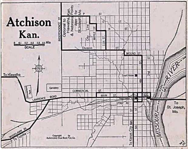 Mapa de la Ciudad de Atchison, Kansas, Estados Unidos 1920