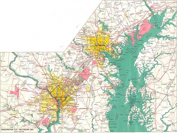Mapa de la Ciudad de Baltimore, Maryland, Estados Unidos