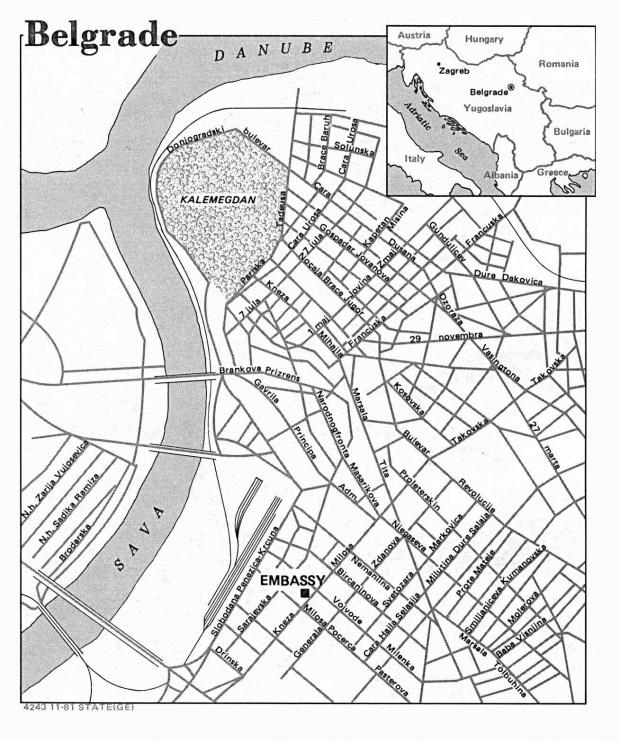 Mapa de la Ciudad de Belgrado, Serbia