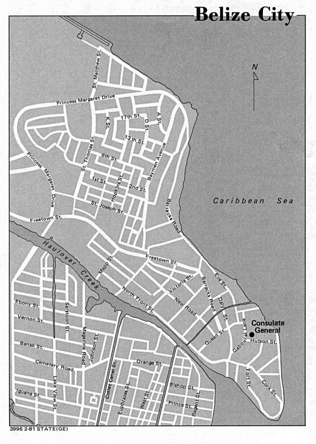 Mapa de la Ciudad de Belice, Belice