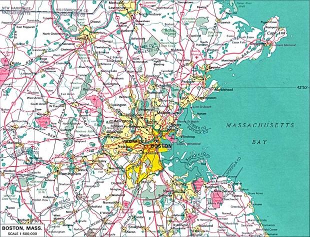 Mapa de la Ciudad de Boston, Massachusetts, Estados Unidos