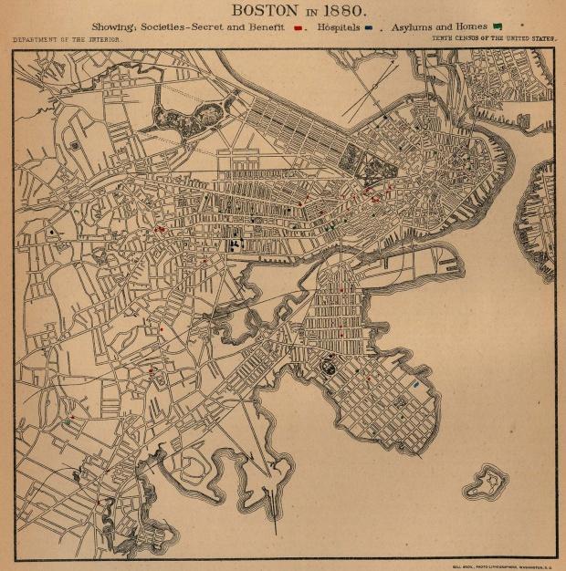 Mapa de la Ciudad de Boston, Massachusetts, Estados Unidos 1880