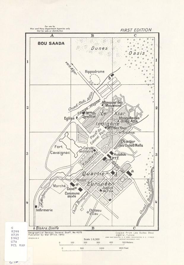 Mapa de la Ciudad de Bou Saâda, Argelia 1942