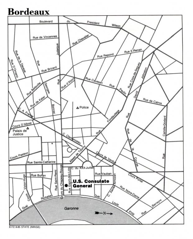 Mapa de la Ciudad de Burdeos, Francia
