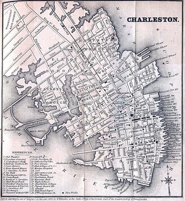 Mapa de la Ciudad de Charleston, Carolina del Sur, Estados Unidos 1849