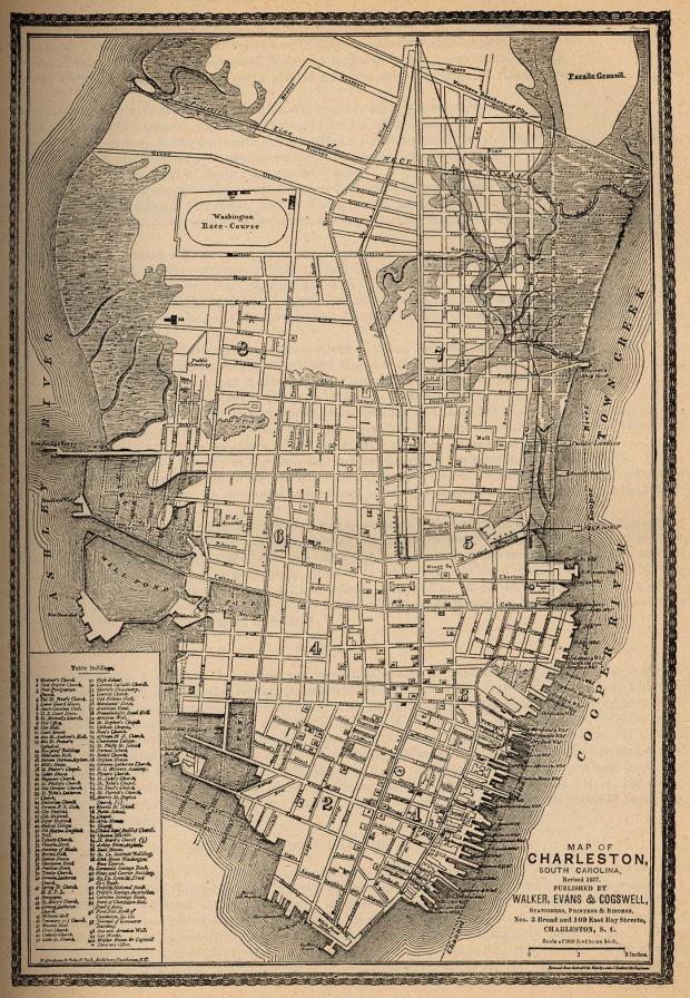 Mapa de la Ciudad de Charleston, Carolina del Sur, Estados Unidos 1877