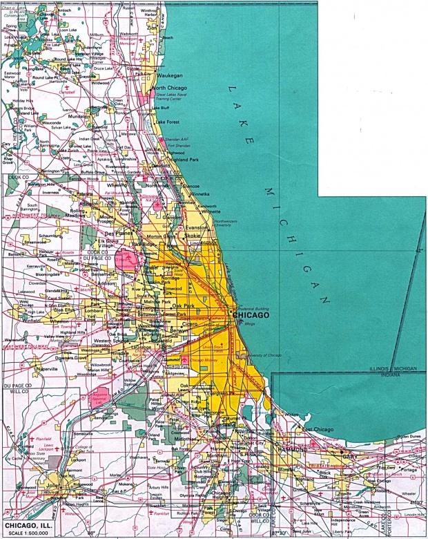 Mapa de la Ciudad de Chicago, Illinois, Estados Unidos
