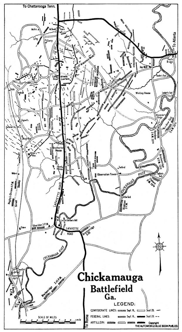 Mapa de la Ciudad de Chickamauga, Georgia, Estados Unidos 1919