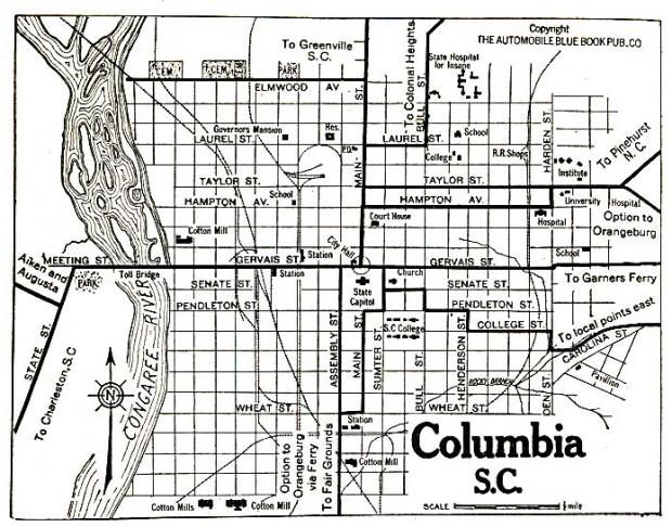 Mapa de la Ciudad de Columbia, Carolina del Sur, Estados Unidos 1920