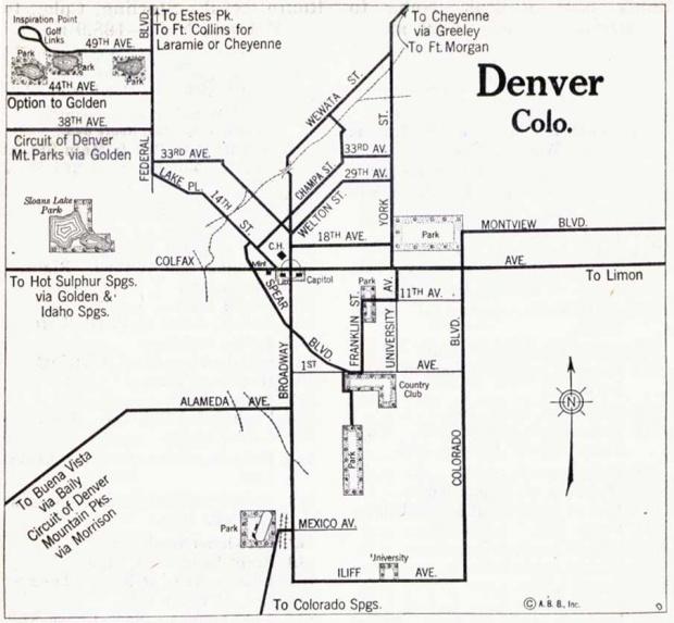Mapa de la Ciudad de Denver, Colorado, Estados Unidos 1917