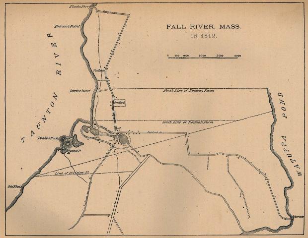Mapa de la Ciudad de Fall River, Massachusetts, Estados Unidos 1812
