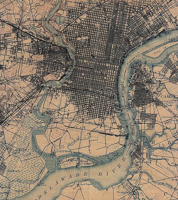 Mapa de la Ciudad de Filadelfia, Pensilvania, Estados Unidos 1898