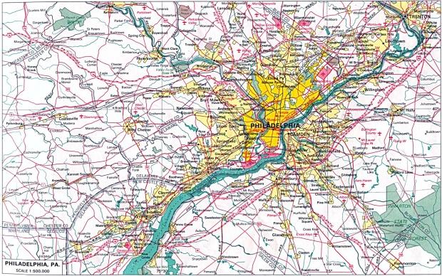 Mapa de la Ciudad de Filadelfia, Pensilvania, Estados Unidos