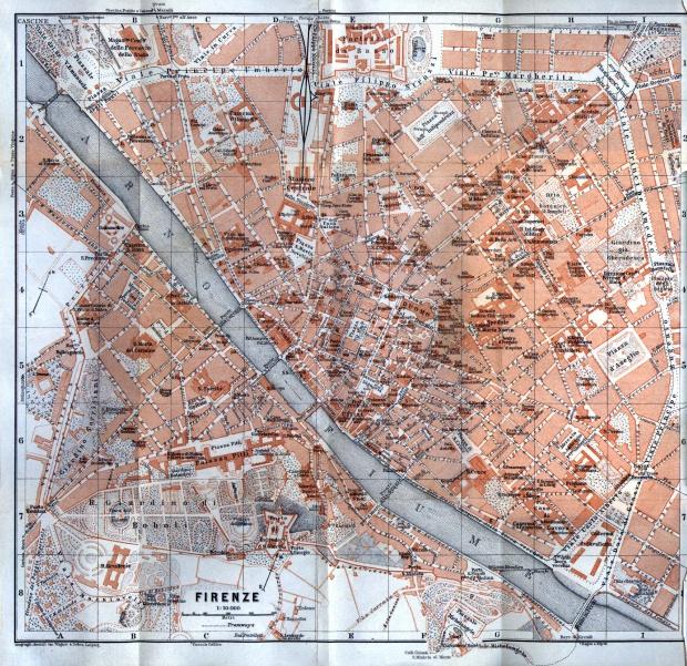 Mapa de la Ciudad de Florencia, Italia 1913