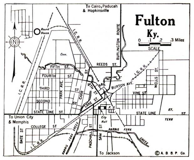 Mapa de la Ciudad de Fulton, Kentucky, Estados Unidos 1922