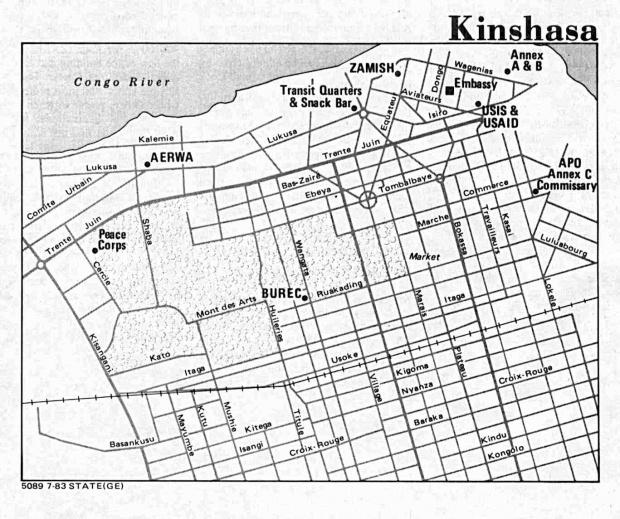 Mapa de la Ciudad de Kinshasa, República Democrática del Congo (Zaire)