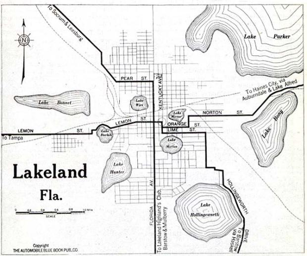 Mapa de la Ciudad de Lakely, Florida, Estados Unidos 1919