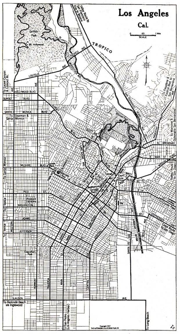 Mapa de la Ciudad de Los Angeles, California, Estados Unidos 1917