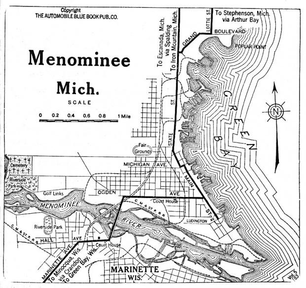 Mapa de la Ciudad de Menominee, Michigan, Estados Unidos 1919
