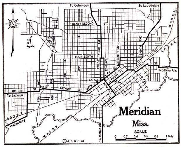 Mapa de la Ciudad de Meridian, Misisipi, Estados Unidos 1920