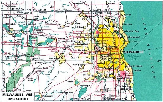 Mapa de la Ciudad de Milwaukee, Wisconsin, Estados Unidos
