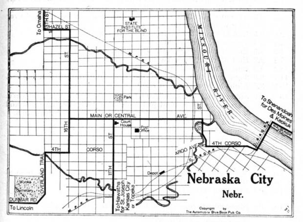 Mapa de la Ciudad de Nebraska, Nebraska, Estados Unidos 1920